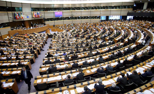Members of the European parliament attend a plenary session